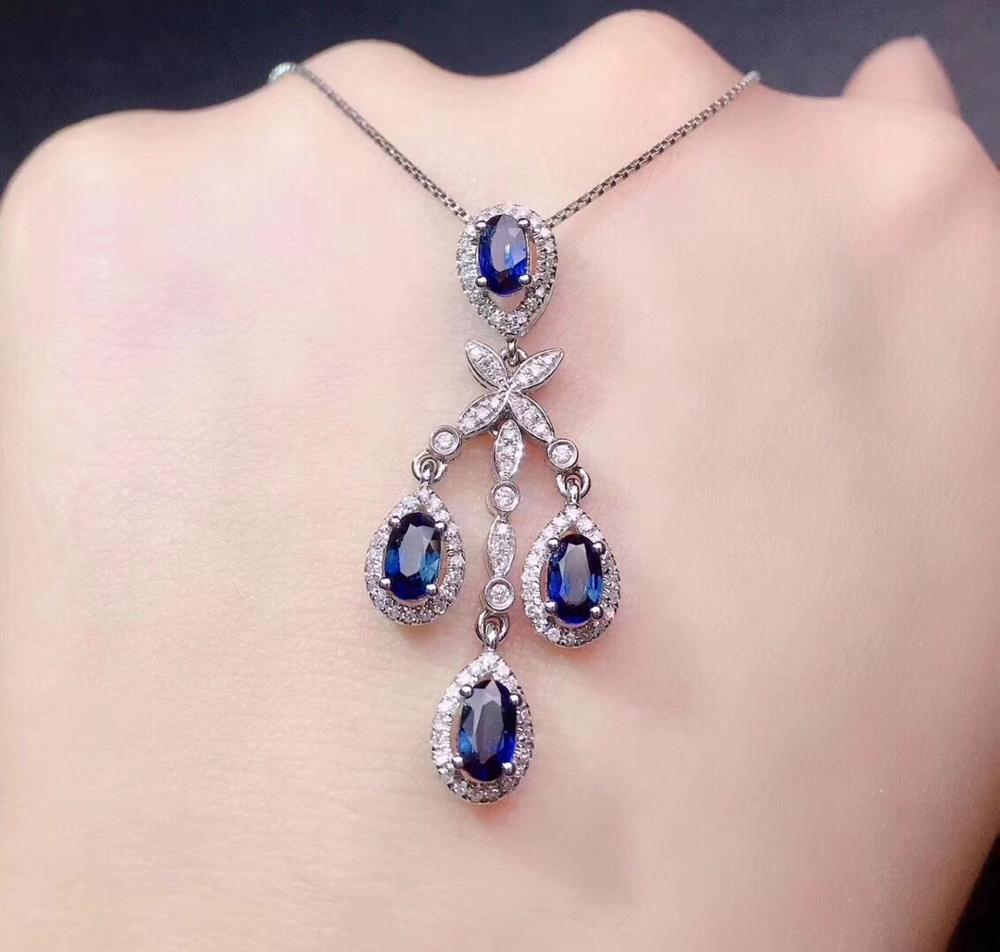 Sapphire Pendant Real Pure 18 K Gold Jewelry AU750 100% Natural Blue Sapphire Gemstones 1.65ct Pendants for Women Fine NecklaceSapphire Pendant Real Pure 18 K Gold Jewelry AU750 100% Natural Blue Sapphire Gemstones 1.65ct Pendants for Women Fine Necklace