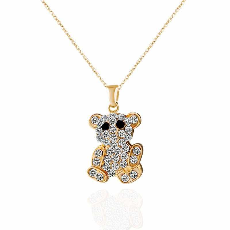 2018 nowe najlepsze prezenty srebrny złoty kolor śliczny niedźwiedź wisiorek naszyjniki dla kobiet pełny kryształ długi naszyjnik statement Fine Jewelry