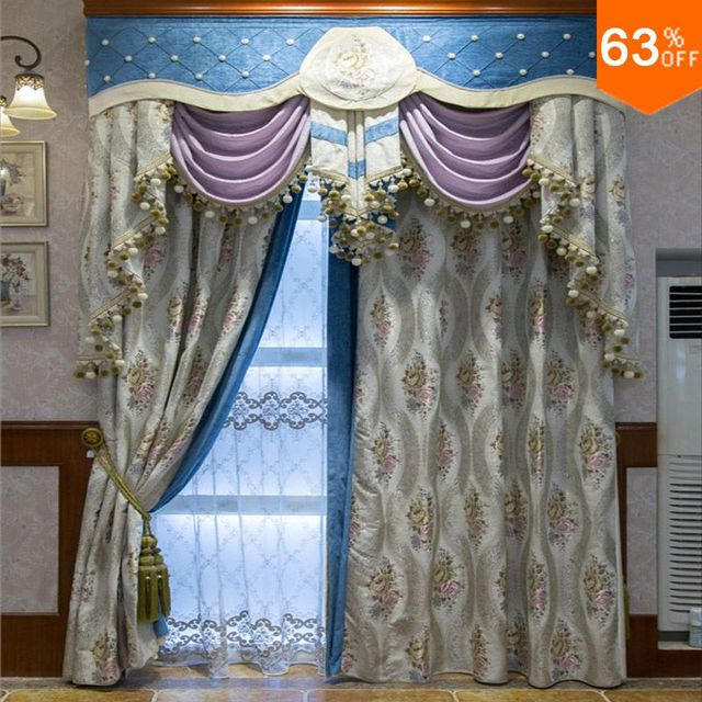 White With Grey Embroidery Patchwork Blue Curtains For Hotel Classic  Elegant Bed Room Curtains Nice New