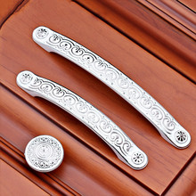 Drawer Pulls Handles White Silver Dresser Pull Knob Metal Flower Kitchen Cabinet Handle Knobs Furniture hardware