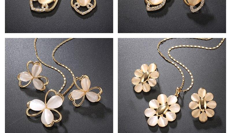 Opal Women Wedding Jewelry Set Bohemian Big African Jewelry Sets Dubai Gold Color Fashion Flower Necklace Earrings Set (4)