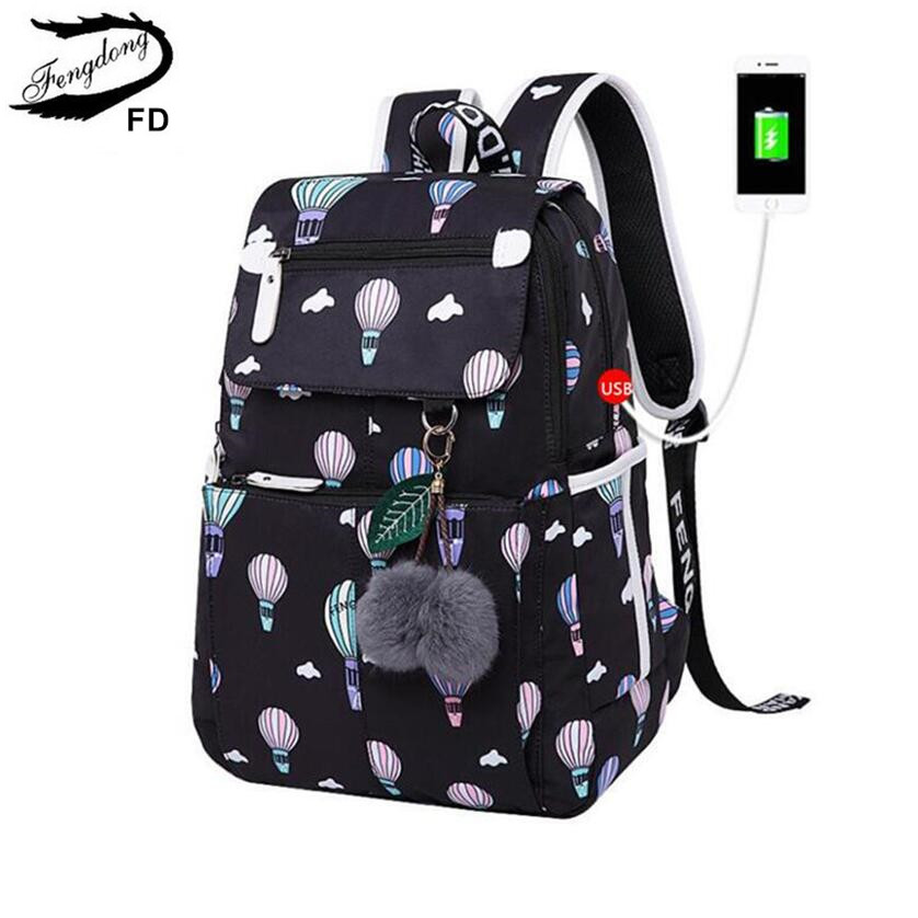 FengDong fashion school backpack for girls school bags new arrival 2018 children backpacks kids cute USB bag schoolbag bookbag wholesale cute oxford 16 inch landscape black bookbag for teenager boys school bags for children schoolbag for kids shoulder bag