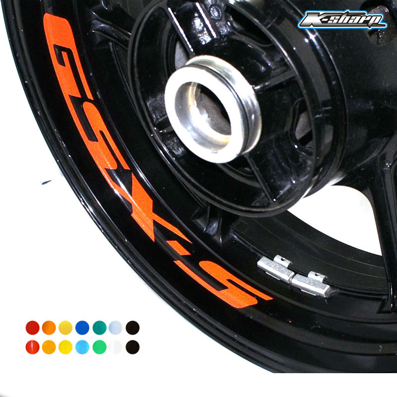 8 X Custom Inner Rim Declas Wheel Reflective <font><b>Stickers</b></font> Stripes For <font><b>SUZUKI</b></font> GSX-S gsxs <font><b>750</b></font> 1000 125 moto wheel <font><b>stickers</b></font> image