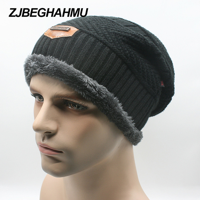 b14aa32a10d Adult mens Solid Casual Cotton Acrylic Winter new labeling knit cap plus velvet  cap winter outdoor hooded cap ski warm hat