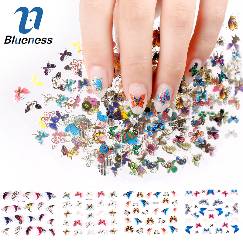 Blueness 3D Nail Sticker 24Pcs Large Size Sheet Moon Butterfly Animal Pattern For Stamping Charms Bronzing Nail Art Decals JH130 24pcs lot 3d nail stickers decal beauty summer styles design nail art charms manicure bronzing vintage decals decorations tools