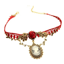 New Fashion New Stylish Cameo Red Rose Lace Fashion Necklace Jewelry Women Gift Xmas Pendant Christmas