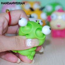 1PIECE Funny Cartoon Animal Vent Squeezing Eyes Decompression Doll Key Pendant Gags Practical Jokes Toys