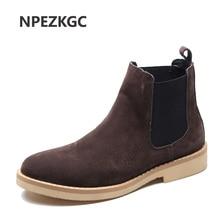 NPEZKGC/осенние модные повседневные мужские ботинки «Челси»; Мужская обувь из коровьей замши; качественные мужские ботинки в байкерском стиле без шнуровки