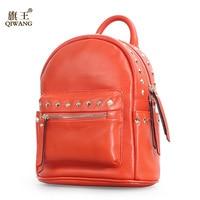 Qiwang Orange Bag Rivet Stylish Backpack 100 Genuine Leather Women Backpack Girls School Bags Rivet Back