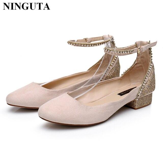 Elegant Crystal Ladies Shoes Low Heels Pink Mary Janes Wedding For Bride