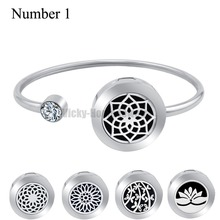 20mm Lotus Magnet Can Wiggle Up and Down Aroma Locket Stainless Steel Bangle Essential Oils Diffuser Locket Bracelet (Dropship)