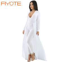 FIYOTE Sexy club elegant White Maxi Skirt Overlay Elegant Party Jumpsuit LC64245 Fashion New Long Sleeve Sexy womens rompers