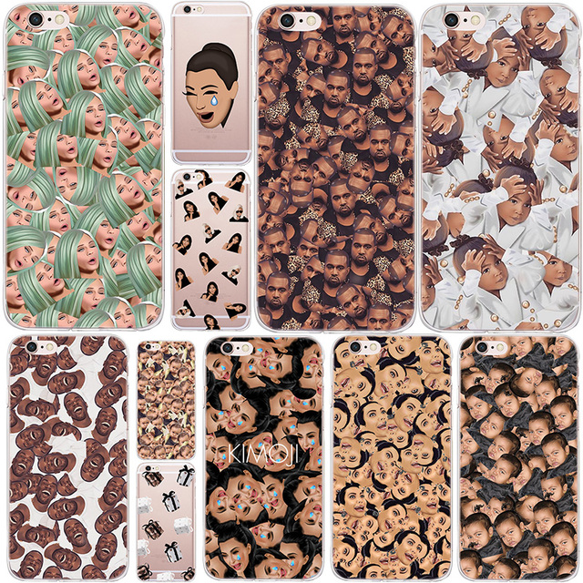 quality design 57d4f f83dd US $0.8 24% OFF|Funny Head Kim Kardashian Kanye Kimoji Soft Silicone Case  For Apple iPhone 8 Plus 7 Plus 6 6S Plus 5 5S SE Back Cover Phone Case-in  ...