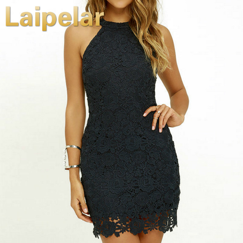 Laipelar Women Summer <font><b>Dress</b></font> <font><b>Elegant</b></font> <font><b>Wedding</b></font> <font><b>Party</b></font> <font><b>Sexy</b></font> <font><b>Night</b></font> <font><b>Club</b></font> <font><b>Halter</b></font> Neck Sleeveless Sheath Bodycon Lace Mini <font><b>Dress</b></font> vestido image