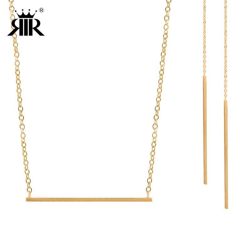 RIR Hot Selliong jemné stříbro zlato hubená bar náhrdelník s bar prohlášení náušnice ženy bar sady šperků jednoduchý design