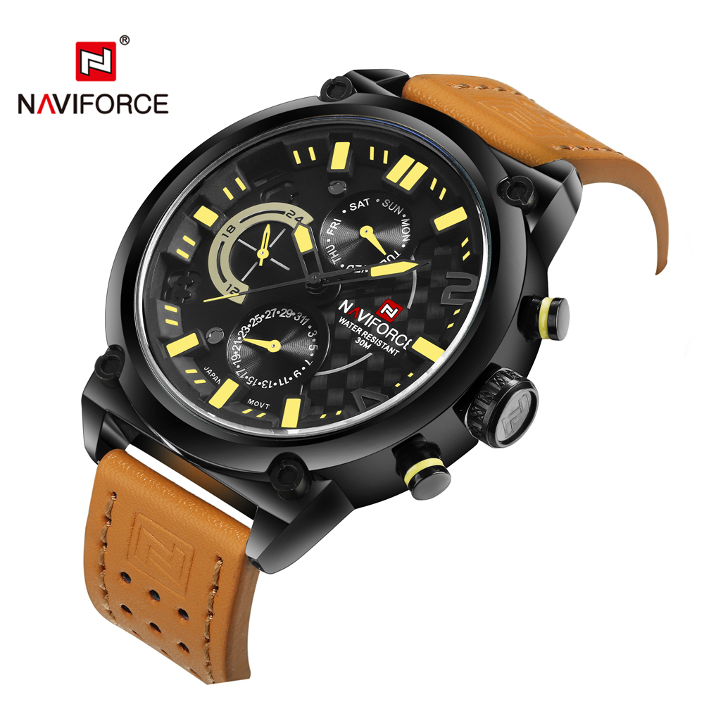 Famous Brand Naviforce Watch Men Sport Wristwatch Luxury Genuine Leather Relogio Masculino Fashion Waterproof Watch Men LX50
