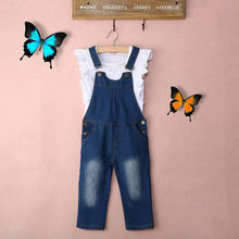 2Pcs Summer Toddler Baby Kid Girls Outfit Clothes Ruffle Shirt Tops+Jeans Overalls Set Children