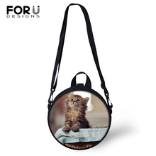 FORUDESIGNS Kawaii Cats Prints Kindergarden Baby Shoulder Bags Light Animal Women Round Shape Messenger Girls Circular