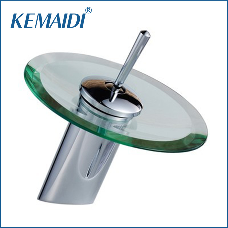 KEMAIDI RU Good Quality Deck Mounted Faucet Bath Basin Mixer Single Handle Faucet Glass Waterfall Tap Bathroom Faucets