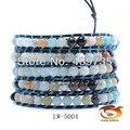 Многослойные браслет полудрагоценные мульти бисером женщин 6 мм смешанные агат кожаные браслеты Оптом и в розницу LW-5004