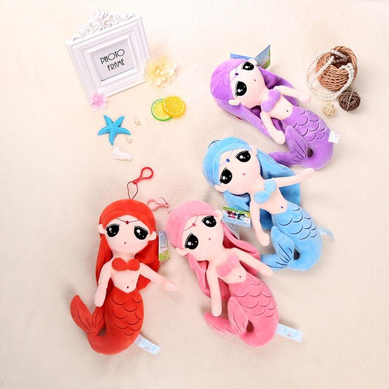 ФОТО plush toys colorful mermaid girl dolls for kids 4 size 4 colors mermaid cotton doll stuffed plush movie story dolls cushions