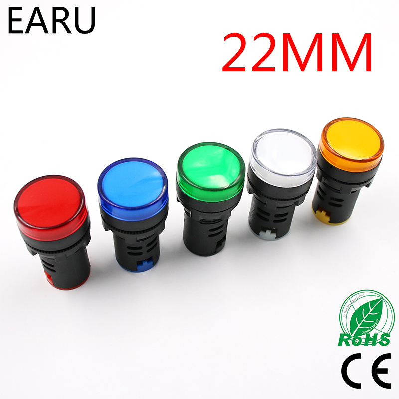 Indicator Signal Lamp Light Waterproof ad16-22ds 22mm AC/DC 12V 24V 110V 220V 380V Red Green Yellow Blue White LED Bulbs 20mA эротическое белье женское casmir dallas chemise цвет черный 04309 размер s m 42 44