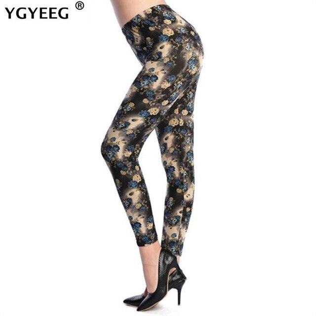 YGYEEG Hot 2019 Print Flower High Waist Leggings New Leggins Big Yellow Flower Orchid Thin Pant Fashion Women Aptitud Trousers