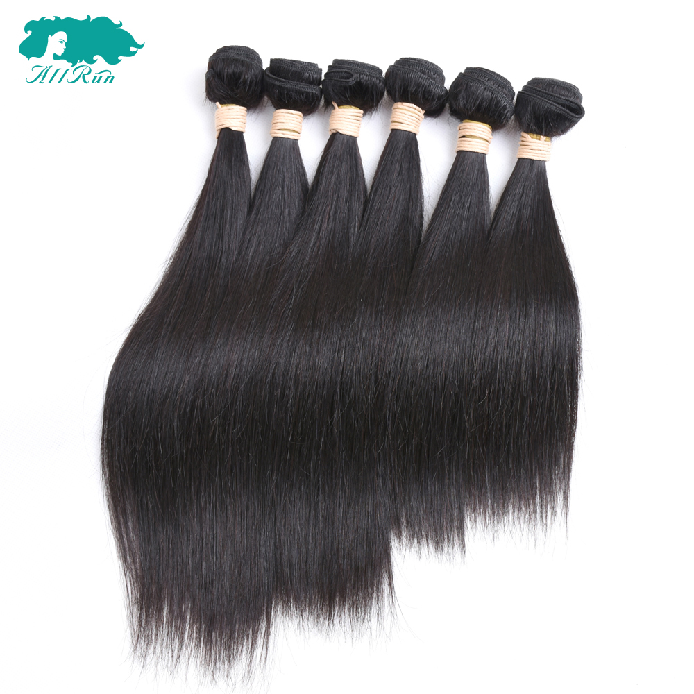Allrun Pre-Colored Malaysian Straight Hair With Closure 6 Bundles Non Remy Human Hair Bundles With 4*4 Free Part Lace Closure