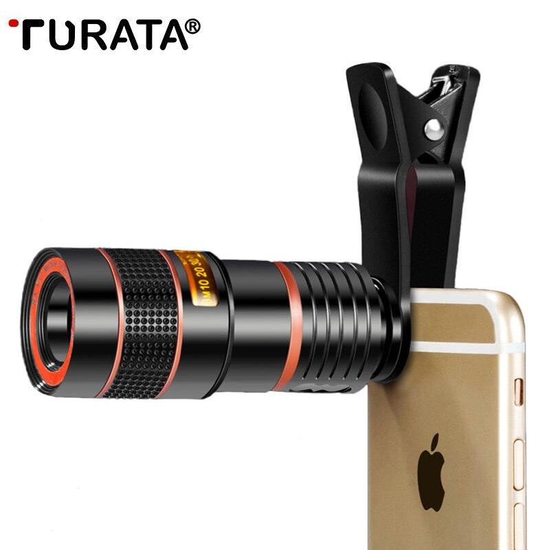 TURATA Clip Universale 8X Zoom 12X Telefono Cellulare Telescopio Teleobiettivo Esterno Smartphone Camera Lens Per iPhone Samsung Huawei