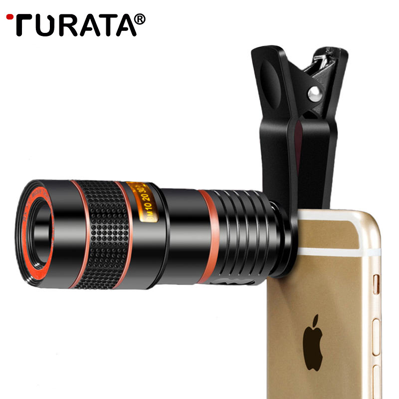 TURATA Universal Clip 8X 12X Zoom teléfono celular telescopio lente telefoto externo Smartphone Cámara lente para iPhone Samsung Huawei