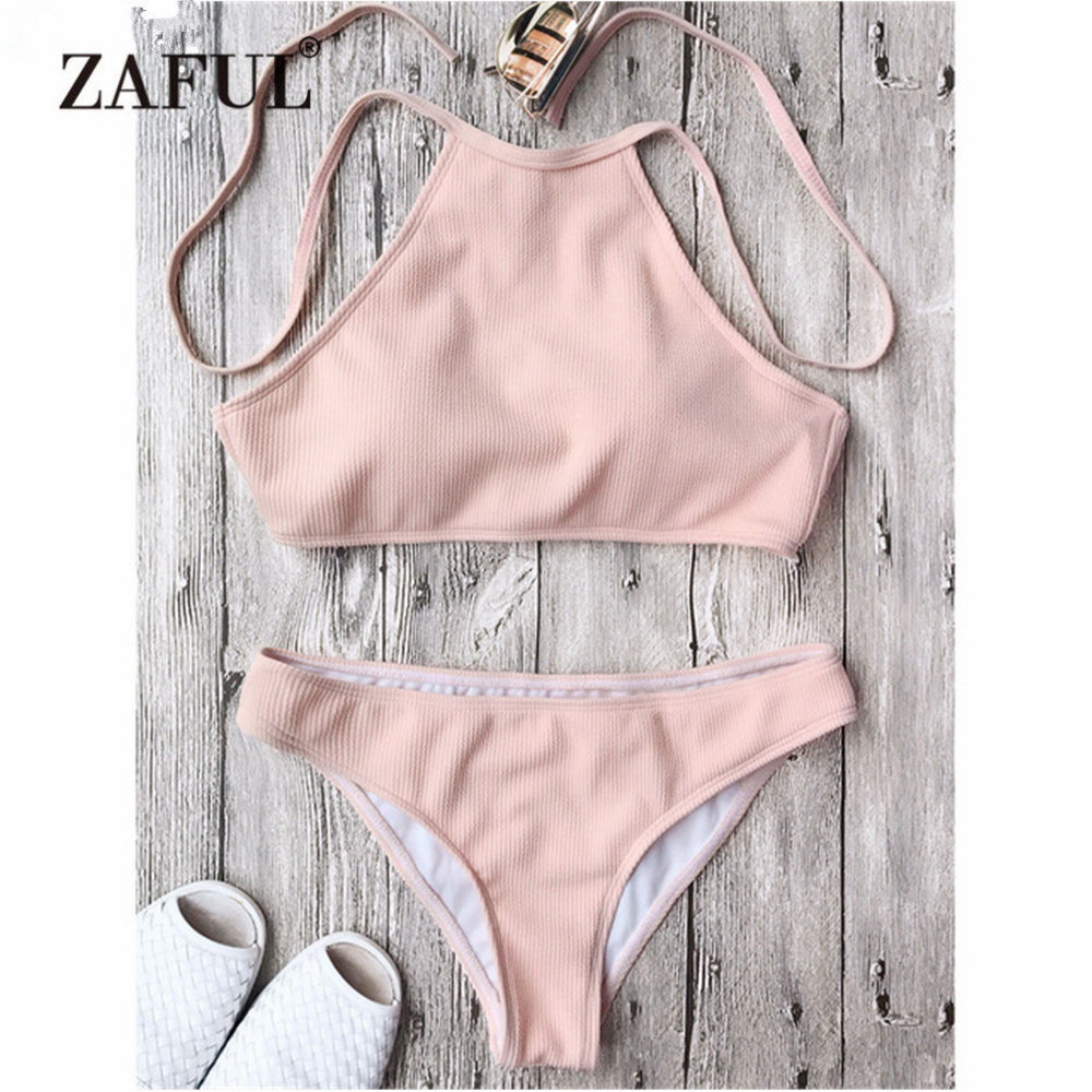 Zaful 2018 Women New Rib Textured High Neck Bikini Set Low Waisted Solid High Neck Swimsuit Women Summer Beach Swimwear