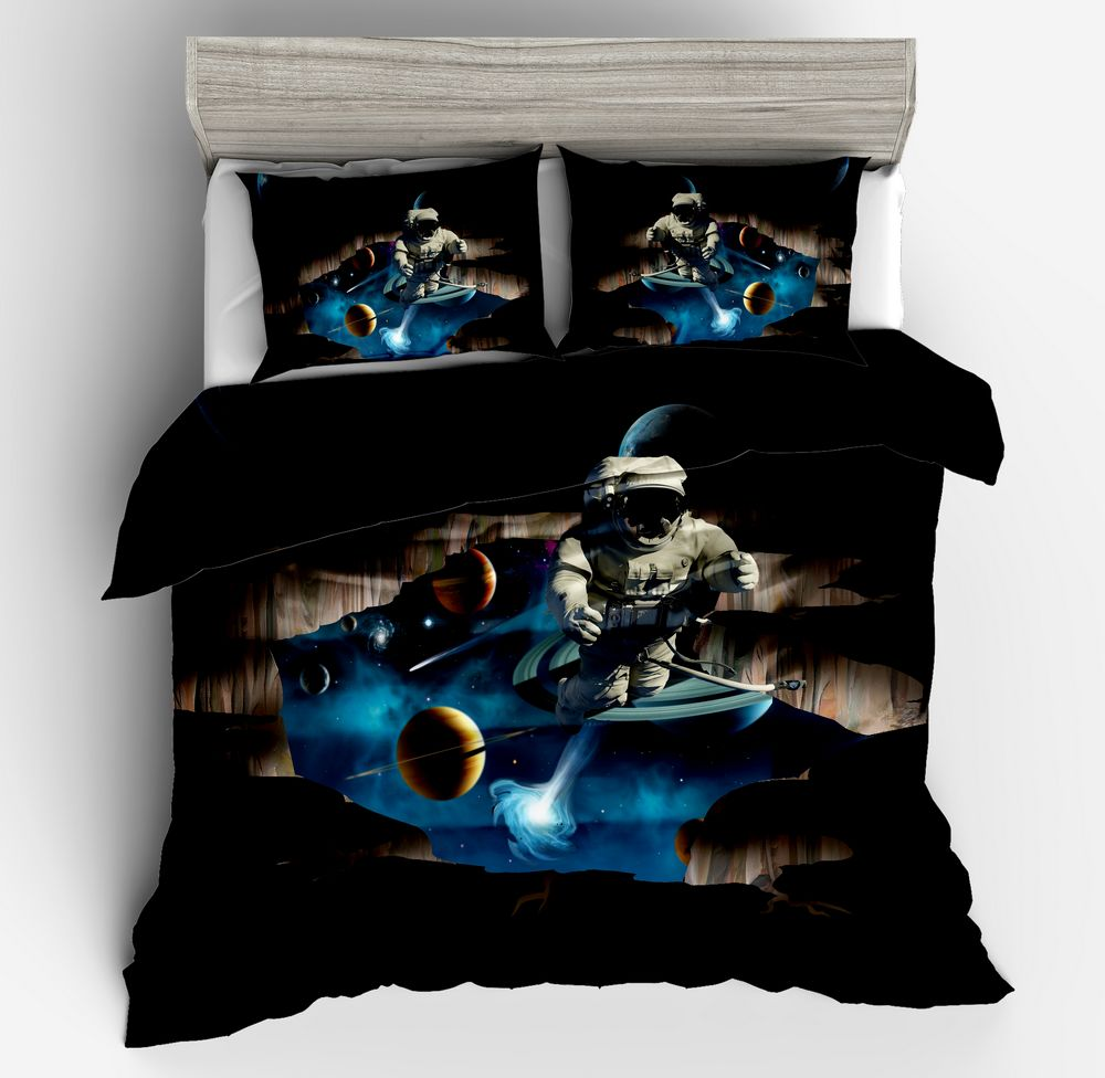 3d hot sell fashion bedding Astronaut Galaxy outer space boys black duvet cover pillow case twin full queen king size Adult3d hot sell fashion bedding Astronaut Galaxy outer space boys black duvet cover pillow case twin full queen king size Adult