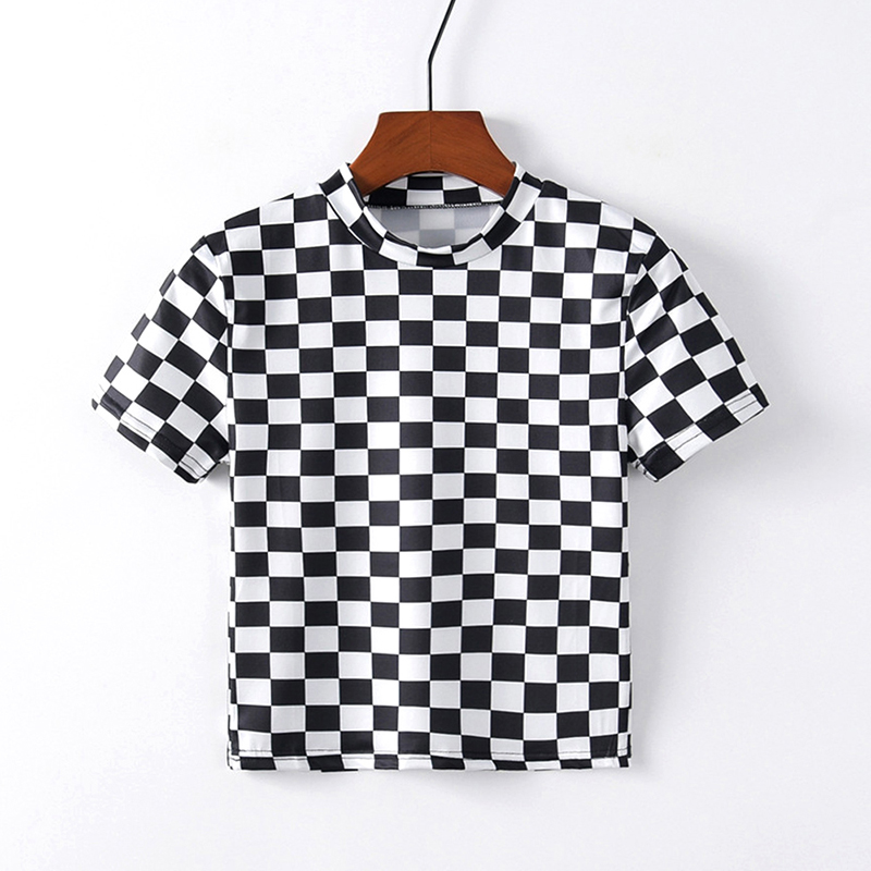 Checkered Cropped T Shirt Women Short Sleeve O Neck Casual Tees Hipster Streetwear Sexy Girl Crop Tops Femme Summer Tshirts