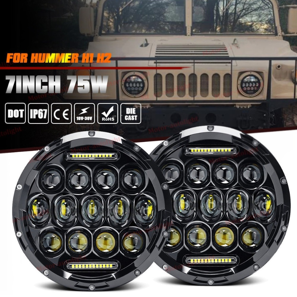CO LIGHT 2Pcs 7Inch Round Led Headlight 12V 24V 75W Hi/Lo Beam Auto DRL for Jeep Lada General Hummer Toyota Ford Kia Car-styling co light 7 led headlight 12v 24v hi low 50w 30w auto headlight angle eye for jeep wrangler jk hummer defender toyota ford lada