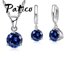 Canndy Colors 925 Sterling Silver Wedding Elegant Jewelry Sets Crystal Pendant Collar Necklace Earrings(China)