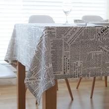 Creative מכתב הדפסת כותנה מפת שולחן Dustproof לעבות מלבני שולחן כיסוי tafelkleed חתונה מסיבת מטבח בית תפאורה