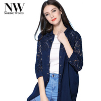 Nordic Winds Women Blouses Casual 2017 Fashion Floral Embroidered Denim Blouses And Shirts Cotton Top Female