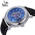 SHENHUA Famosa Marca Relógios Homens Relógios Masculino Relógio À Prova D' Água Relógios Mecânicos de Esqueleto Automático de Auto de Vento Máquinas Relógio De Pulso