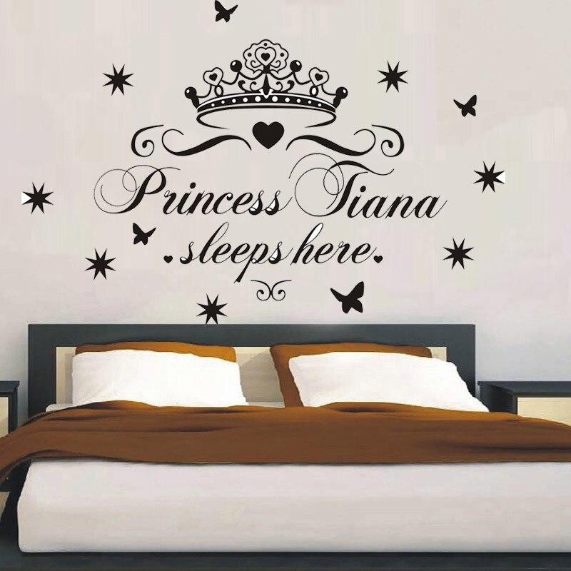 PERSONALISED NAME PRINCESS SLEEPS HERE TIARA STARS VINYL WALL ART STICKER GIRLS