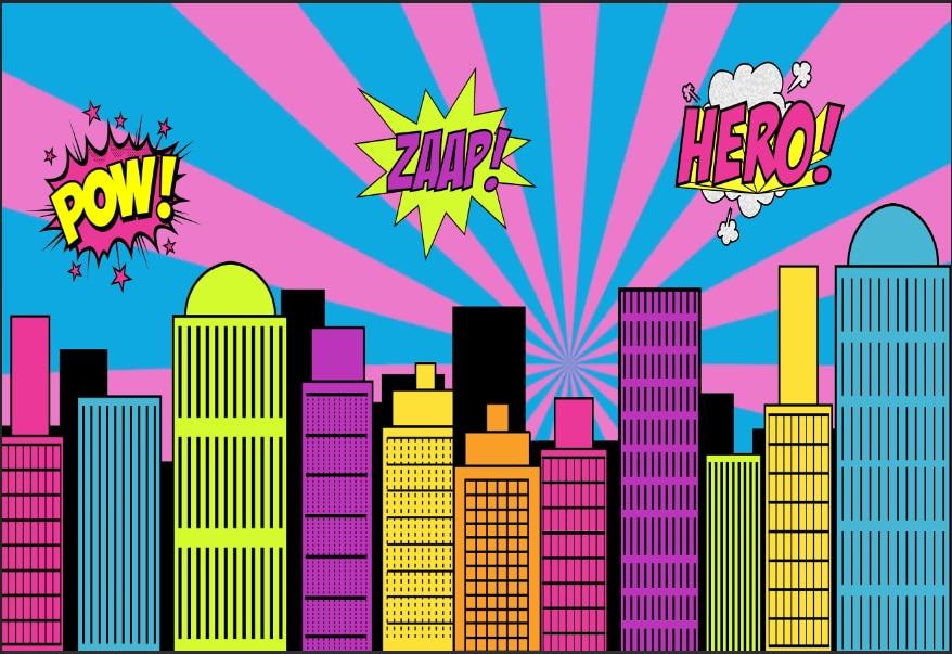 5x7ft Super Heroes City Skyline Pow Zaap Stripes Custom