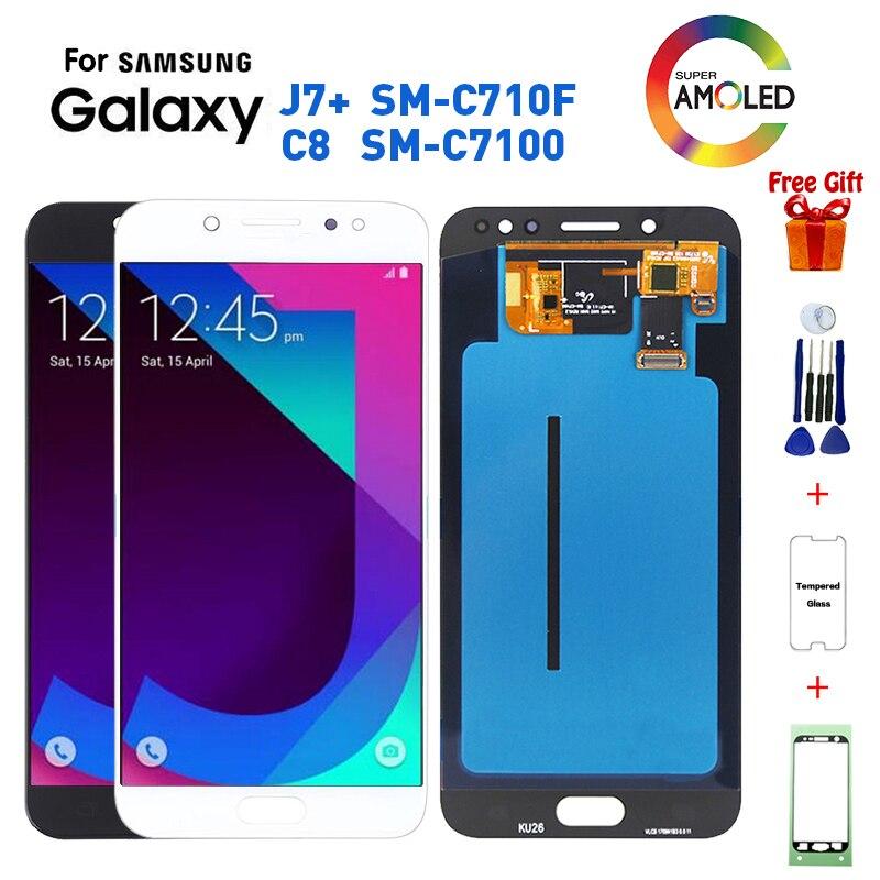 Pour Samsung C7 2017 J7 + SM-C710F remplacement d'écran d'affichage à cristaux liquides pour Samsung Galaxy C7 2017 C8 SM-C7100 C710F écran d'affichage à cristaux liquides