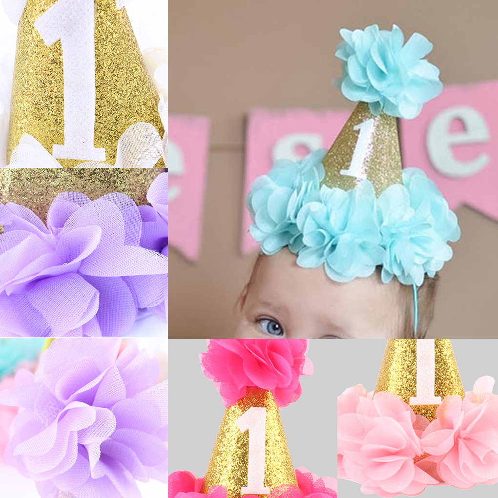 Girl Outfit First Birthday 1st Flower Shinny Princess Crown Baby Pink White Purple Birthday Hat Cake Kid's Party Cartoon Hats