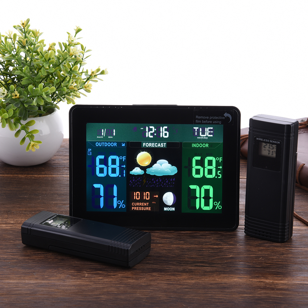 Indoor Outdoor <font><b>Temperature</b></font> Monitor Digital Weather Station DCF77 RCC Thermometer RH% Barometric Pressure 2 Wireless Sensor