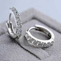 Women Single Row Full Rhinestones AAA Zircon Ear Buckles White Stud Earrings jewelry