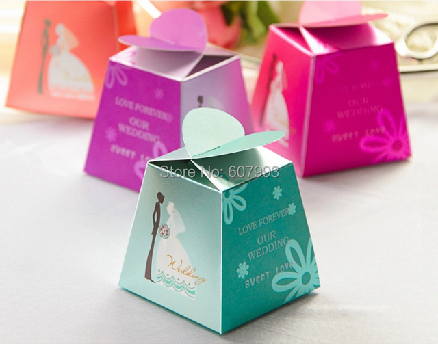 Creative Love Heart Shaped Wedding Party Favor Candy Bomboniere Box Gifts Bag Paper Chocolate Sweets