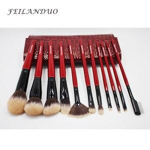 Image 4 - FEILANDUO 11 adet Profesyonel makyaj fırçası Seti Yüksek Kaliteli PBT Makyaj Araçları T004 Makyaj Fırçalar Kozmetik Aracı