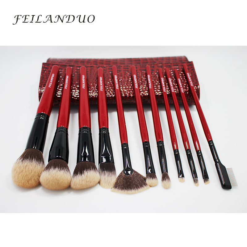 Image 4 - FEILANDUO 11pcs Professional Makeup Brush Set High Quality PBT Makeup Tools T004 Make Up Brushes Cosmetics Tool-in Eye Shadow Applicator from Beauty & Health