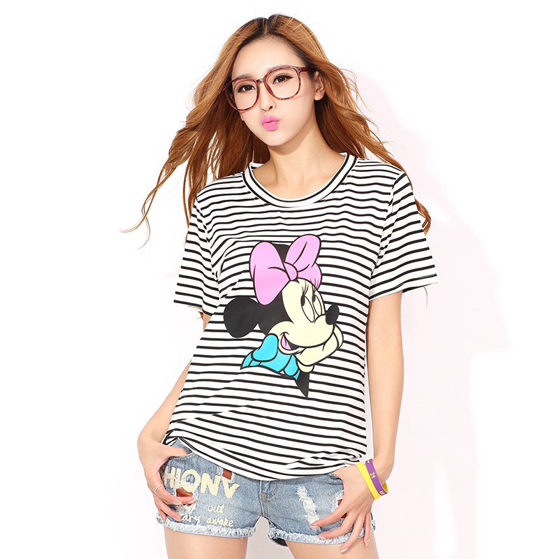 Shirts Women 2018 Fashion Summer Cute T Shirt Harajuku Mickey Print T-shirt Short Sleeve Women Tops M XXL Size Korean Clothes