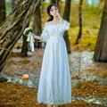 2017 New spring Lace White Princess Dress Pure Cotton Summer  Elegant Vintage Half Sleeve Slash Neck Fairy Long Dresses wj129