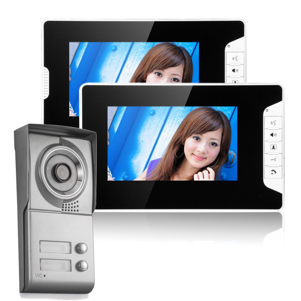 Free Fast Shipping 7'' Wired Video Door Phone Access Control Doorbell Intercom System Kit set 2 monitors+1 camera with 2 buttons free fast shipping 7 wired video door phone access control doorbell intercom system kit set 2 monitors 1 camera with 2 buttons